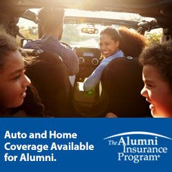 Auto and Home Coverage Available for Alumni, the Alumni Insurance Program, Image of family in car