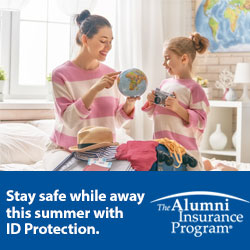 Stay safe while away this summer with ID protection, the Alumni Insurance Program, mother and daughter looking at globe