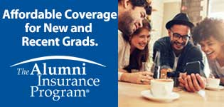 Affordable Coverage for New and Recent Grads. The Alumni Insurance Program. Image of people gathered around phone.