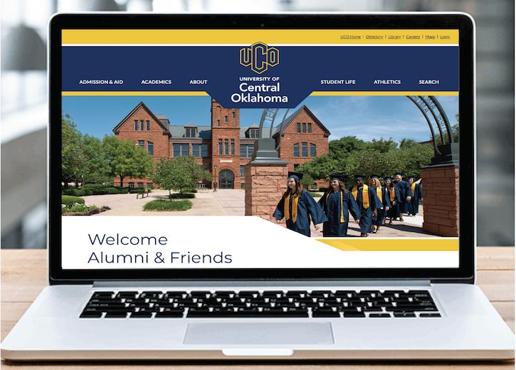 UCO Alumni & Friends website on laptop